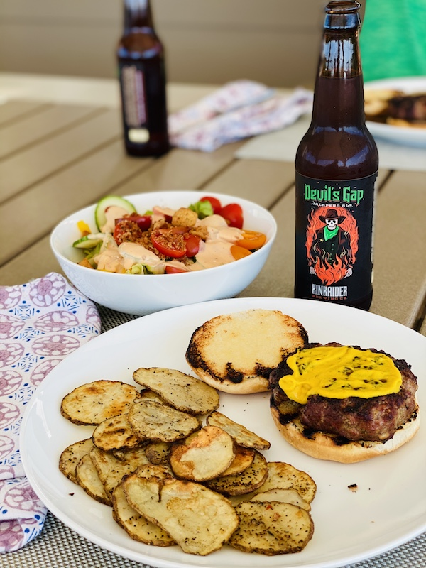 potatoes with burger and beer