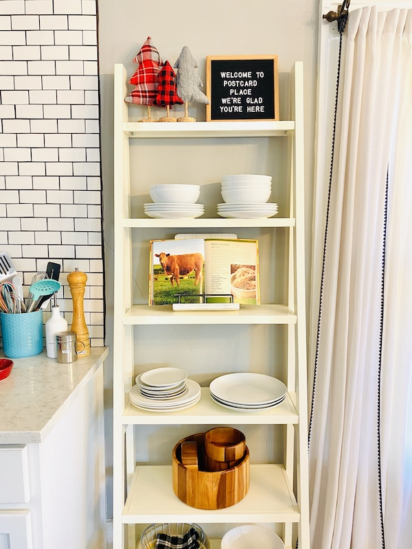 Postcard Place Airbnb in Pawhuska Christmas kitchen shelves