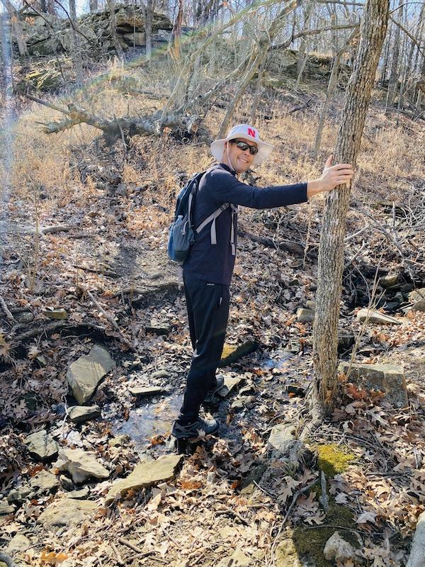 crossing a creek at prairie earth trail