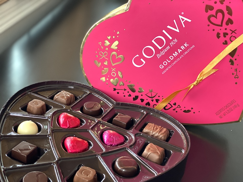 romantic valentine's day at home Godiva chocolates