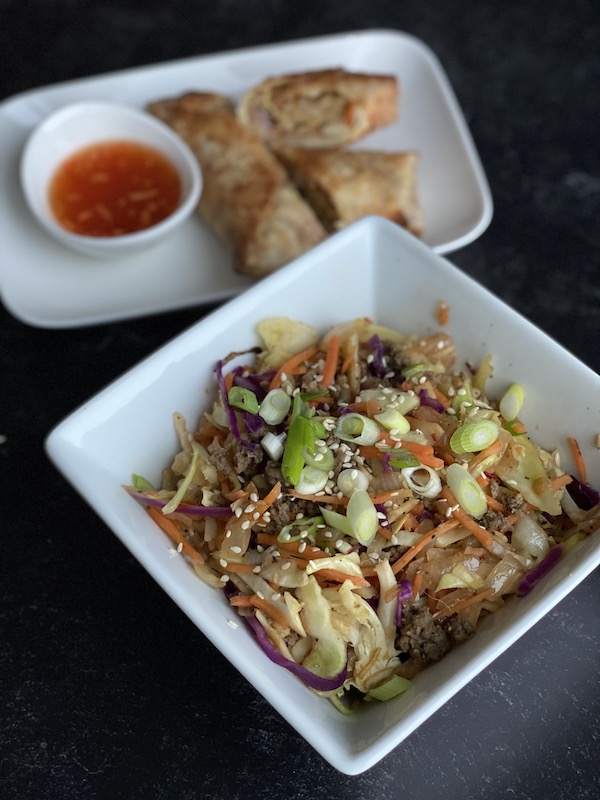 Low calorie egg roll in a bowl meal