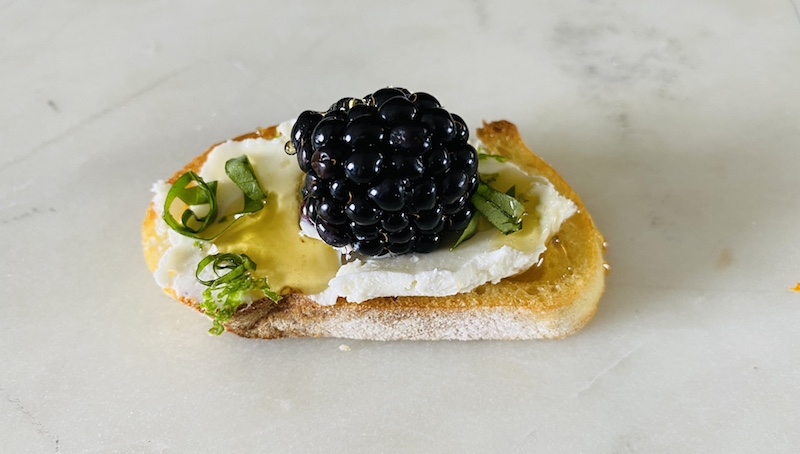 romantic valentine's day at home blackberry crostini