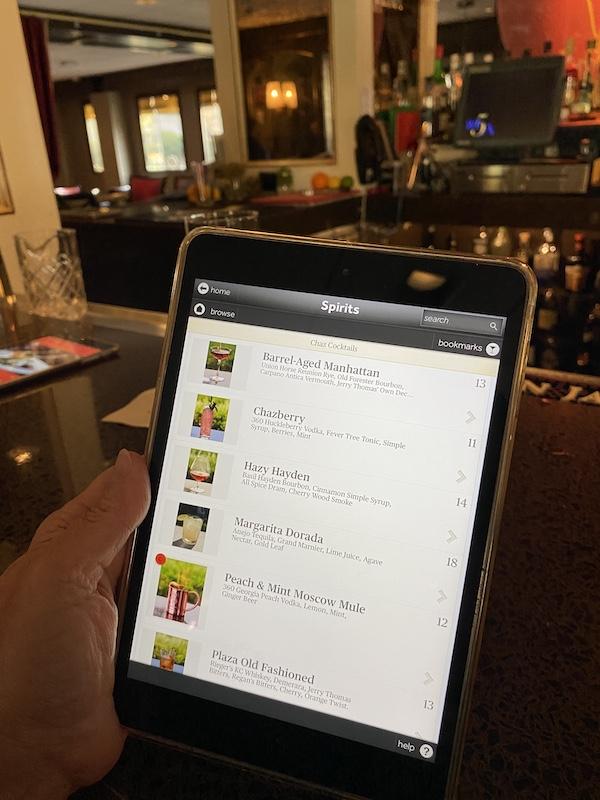 Tablet bar menu at Chaz on the Plaza at Raphael Hotel Kansas City