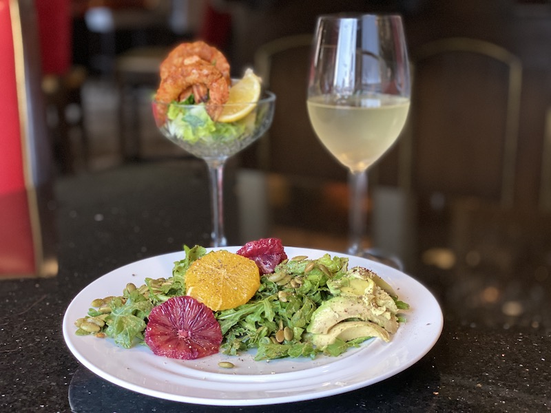 Salad and smoked shrimp cocktail at Chaz on the Plaza at Raphael Hotel Kansas City