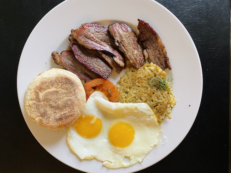 KC Brisket and Eggs in room from Chaz on the Plaza at Raphael Hotel Kansas City