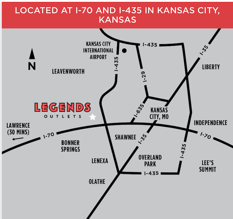 Location of Legends Outlets Kansas City