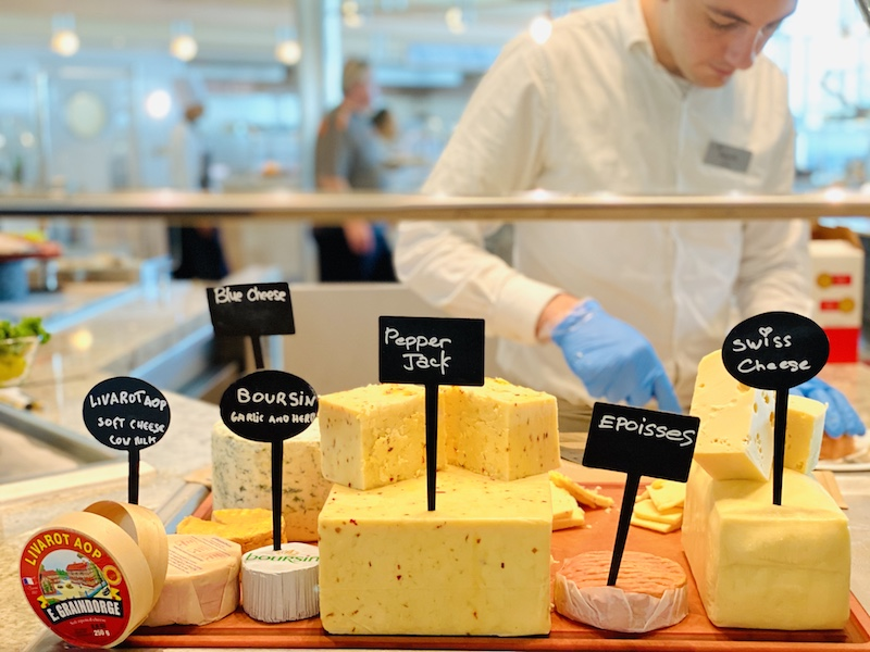 selection of cheeses aboard the Celebrity Edge