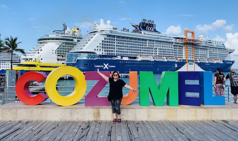 Ann in Cozumel in front of the Celebrity Edge