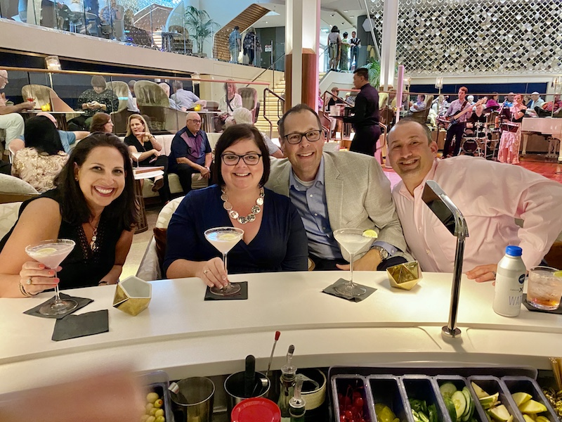 Cocktails with friends aboard Celebrity Edge