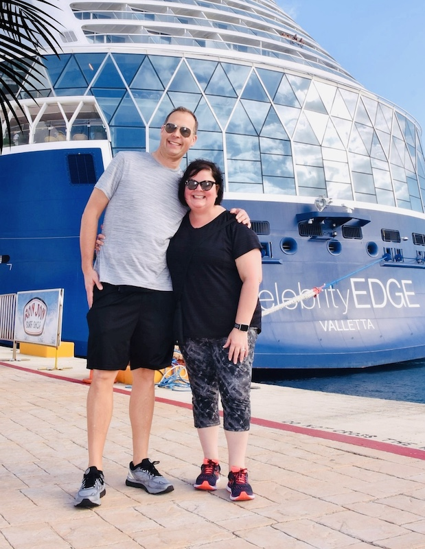Standing on the pier near the Celebrity Edge