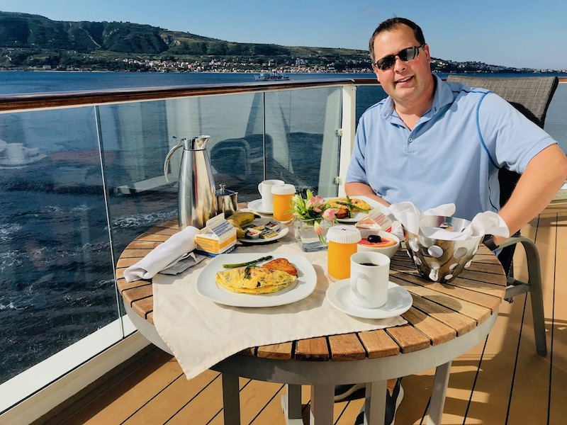 Steve Teget on ship veranda